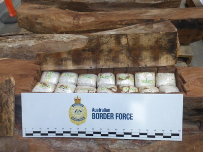 154 kg of meth concealed in timber logs seized, two people charged